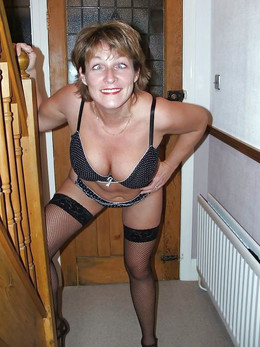 German granny in black stockings,..