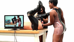 Male slave anal fisted by two ebony..