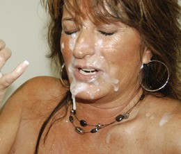 These amateur woman takes facials..