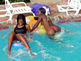 Two young Africans in the pool
