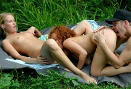 Outdoor threesome ffm sex pictures is..