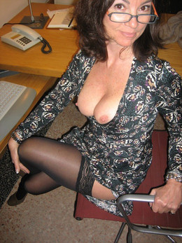 Busty mature wife in stockings doing..