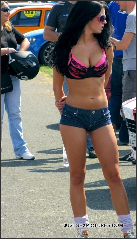 girl walking in sexy short shorts